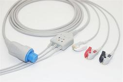 GE-Datex Ohmeda ECG cable, 3Leads,Pinch, Compatible 545302+8